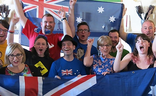 Kohan Ikin and other Eurovision fans in Vienna, May 2015. Photo from The West Australian.